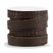 Plat imi leer 10mm croco Dark chocolate brown