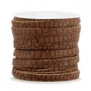 Plat imi leer 5mm croco Rust brown