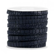 Plat imi leer 5mm croco Dark midnight blue