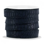 Plat imi leer 10mm croco Dark midnight blue
