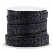 Plat imi leer 10mm croco Black grey
